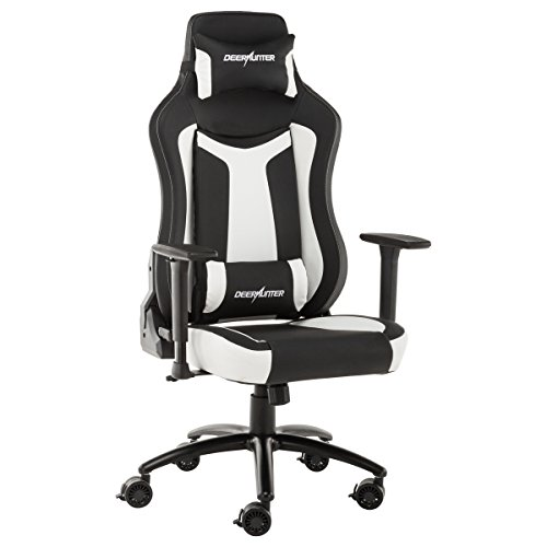 Deerhunter Gaming Chair, Leather Office Chair, High Back Ergonomic Racing Chair, Adjustable Computer Desk Swivel Chair with Headrest and Lumbar Support – White