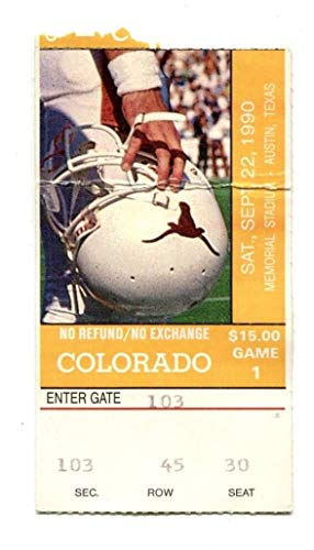 1990 Texas Longhorns v Colorado Football Ticket 9/22 Buffs National Champs RG