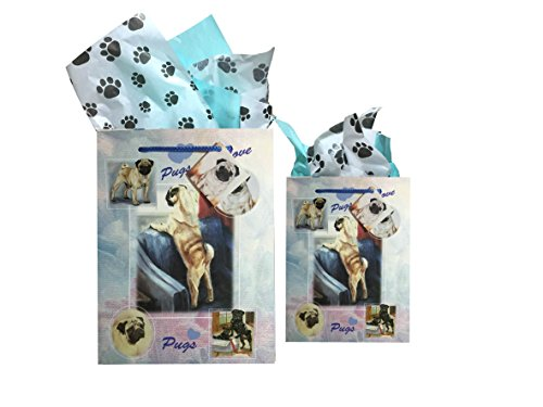 Dog Breed Gift Bags Set of Two with Tissue Paper (Pug)