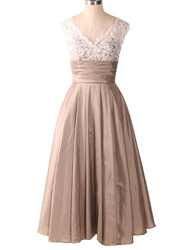 CIRCLEWLD-Midi-Evening-Dresses-Wedding-Women-A-Line-Tea-Length-Cocktail-Vintage-Bridal-Gown-Champagne-Size-18W