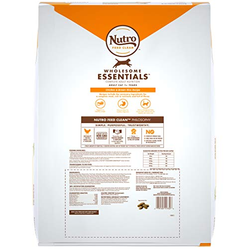 NUTRO WHOLESOME ESSENTIALS Adult Indoor Natural Dry Cat Food for Healthy Weight Farm-Raised Chicken & Brown Rice Recipe, 14 lb. Bag