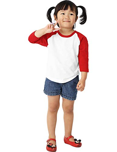 Ma Croix Infants Raglan 3/4 Sleeve Shirt Slim Comfort Fit Baseball Jersey Toddler Tee (12 Month, 5bh03_White/Red)