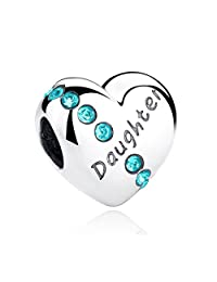 PAHALA 925 Sterling Silver Daughter Heart With Blue Crystal Charm Bead Fit Bracelet