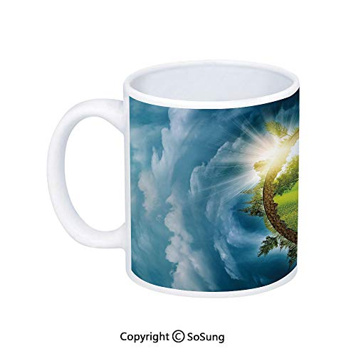 Earth Coffee Mug,Circular Frame with Endless Green Landscape Infinity Clouds Space Decorative,Printed Ceramic Coffee Cup Water Tea Drinks Cup,Light Green Brown Petrol Blue