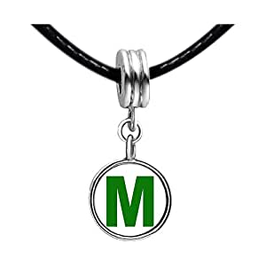 Chicforest Silver Plated Green Letter M Photo Purple Amethyst Crystal February Birthstone Flower dangle Charm Beads Fits Pandora Charms
