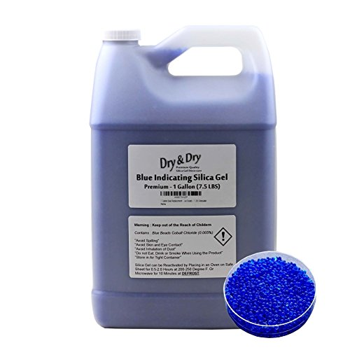 1 Gallon Blue Premium Indicating Silica Gel Beads(Industry Standard 2-4 mm) - 7.5 LBS Reusable