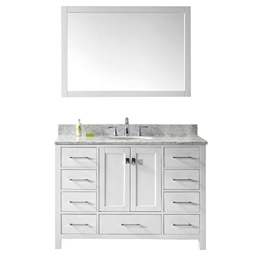 Virtu USA Caroline Avenue 48 inch Single Sink Bathroom Vanity Set in White w/Round Undermount Sink, Italian Carrara White Marble Countertop, Polished Chrome Faucet, 1 Mirror - GS-50048-WMRO-WH-002