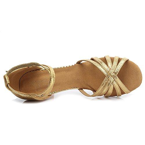 Satén Estándar tacón Gold 5cm Zapatos 1810 Ballroom De Es Latino Modelo Mujer Baile niñas YqR5S