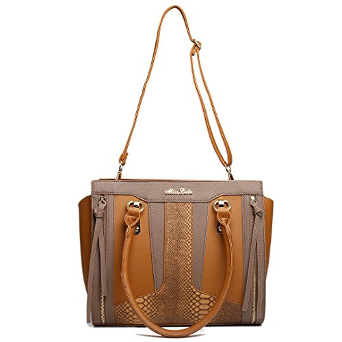 Bag Structured Miss Brown Contrast Lulu Look Leather Shoulder Snakeskin Brown Brown qRtHR0
