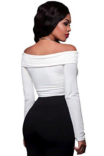 Nuevas señoras blanco apagado hombro de nudo recortada Top Club wear verano Casual Tops tamaño M UK 10–�?2EU 38–�?0