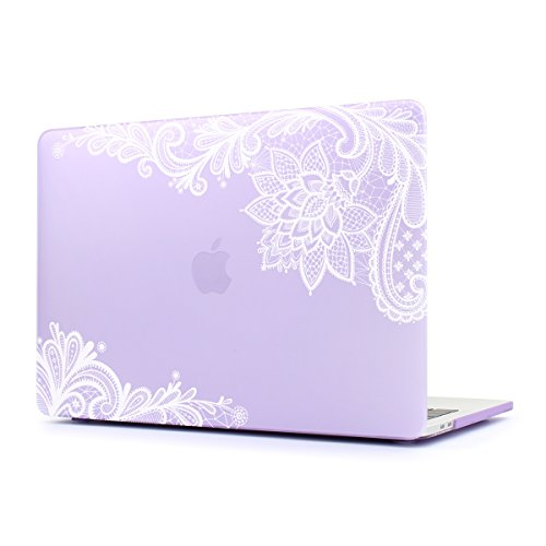 Dongke Case for New MacBook Pro 13 2018 2017 & 2016 Release,Stylish Lace Design for Lady Frosted Cover for Apple MacBook Pro 13 inch with/without Multi-Touch Bar (Model:A1989 A1706/A1708) (Purple)