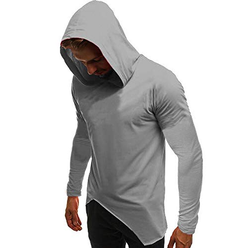WUAI Clearance Men's Casual Hoodie Shirts Long Sleeve Fashion Muscle Outdoors Solid Slim Fit Tops Blouse(Grey,US Size M = Tag L)