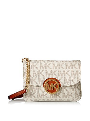 Michael Kors Women's Fulton Signature PVC Flap Gusset Crossbody Bag, Vanilla, OS