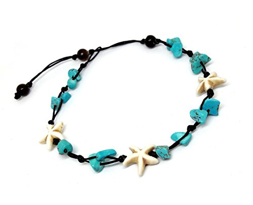 Blue Turquoise Color Bead Anklet Beautiful 26 cm.Handmade Star Anklet for Women and Girls