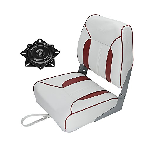 MSC Folding Boat Seat with Seat Swivel 360 Degree Rotation (AA-White/Red)