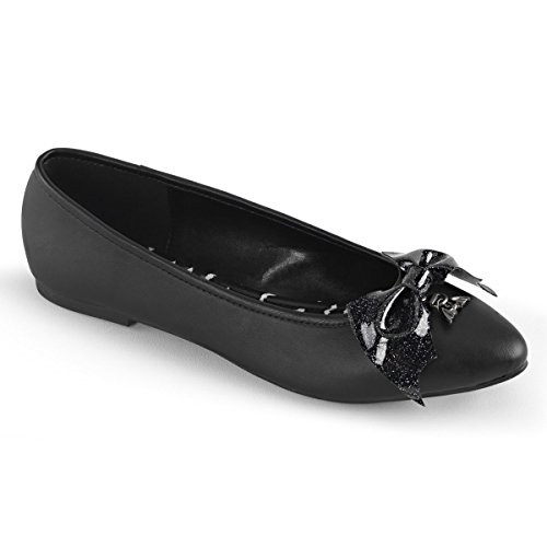 Bow Detail Leather - Demonia VAIL-01 Womens Pointed Toe Flat W/Glittery Bat Bow & Bat Charm Detail, Blk Vegan Leather, Size - 8
