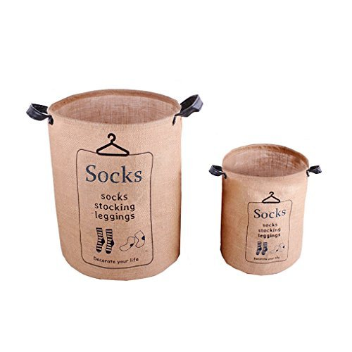 FakeFace 2PCS Premium Dustproof Cotton Linen Folding Pop-up Washing Laundry Storage Basket Hampers for Dirty Clothes Waterproof Kids Toys Storage Bucket Boxes Bins Organizer Tote Bag Set with Handles