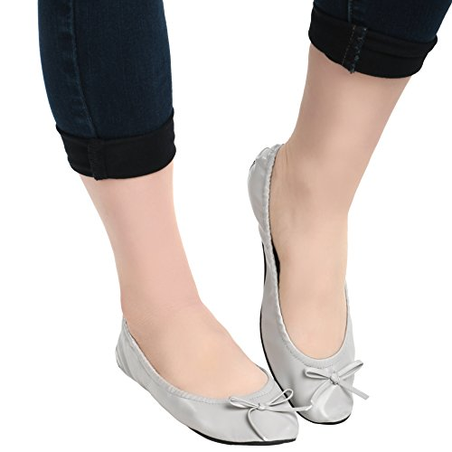 Island Wear Mujeres Ballet Plegable Zapatos De Viaje Con Llevar Estuche De Embrague De Plata