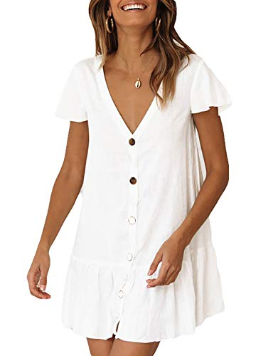 Ailunsnika Women White Short Open Front Tunic Kimono Cardigan Rayon Bathing Suit Cover Ups with - Front Button Suit