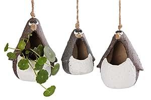 vanenjoy carcasa para colgar de cerámica macetas suculentas Animal Familia, Mate Cerámica Bonsai cactus flower pot, Air Plant jarrón soporte para interior y exterior decorativa