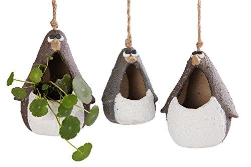 VanEnjoy Cute Cartoon Ceramic Hanging Succulent Planters Animal Family Penguin, Matte Pottery Bonsai Cactus Flower Pot,Air Plant Vase Holder for Indoor and Outdoor Decorative-Set of 3 (Penguins Plant)