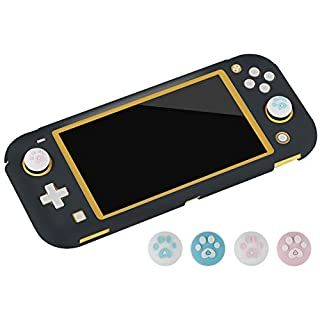 Protective Cover Case Compatible for Nintendo Switch Lite 2019 with 4 Thumb Grips Caps, Protective Hard Shell,Colorful Case Cover (Black)