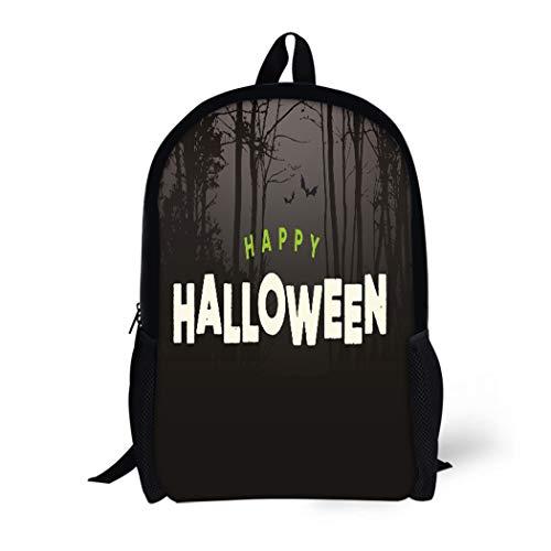 Pinbeam Backpack Travel Daypack Title Happy Halloween Text Night Forest Autumn Bat Waterproof School Bag