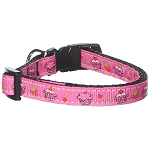 Mirage Pet Products Cupcakes Nylon Ribbon Collar for Pets, Small, Bright Pink