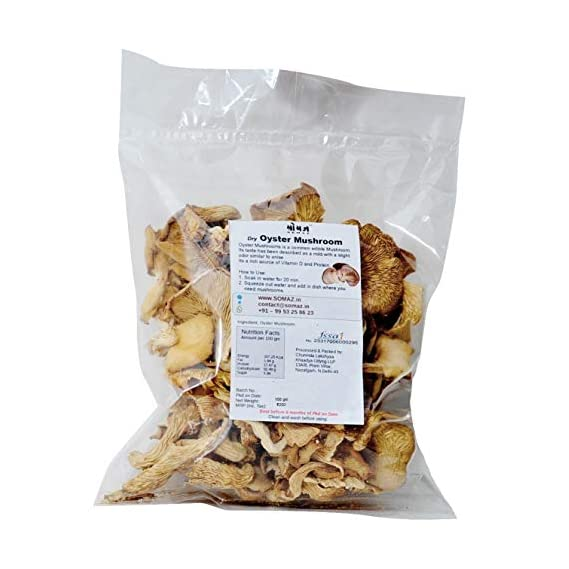 SOMAZ Dry Oyster Mushroom - 200gm Direct from Farms | No Chemicals No Artificial Colors, Flavors Or Preservatives