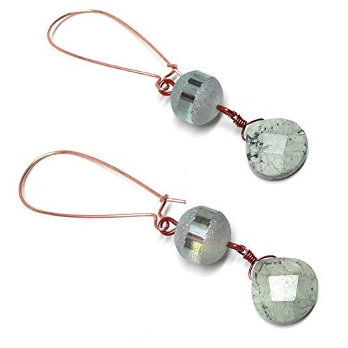 Light Aqua Jasper Briolette Glass Copper Gunmetal Large Kidney Wire Earrings