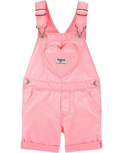 (Osh Kosh Girls' Toddler World's Best Overalls, Pink Heart Shortall, 5T)