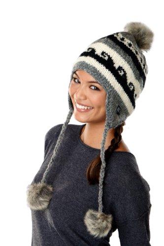 SIJJLs fleece lined earflap hat with faux fur pompom accents-Gray-one size