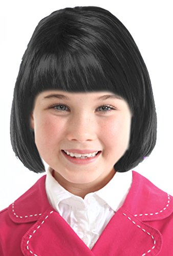 Short Bob Back Wig Cleopatra Wig Girls Emo Girl Wig Black Bob Wig Child (Emo Girl)