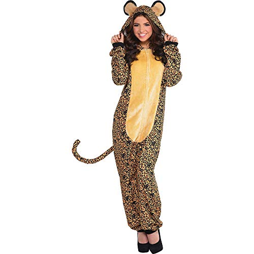 AMSCAN Zipster Leopard One Piece Pajama Halloween Costume for Adults, Small/Medium, with Attached Hood and Tail -