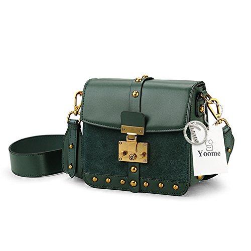 Borse Green Per In Box Spalla Bovina Donna Donne Vintage Yoome Rivetto Da Mini Pelle Borsetta Daily qf41w1I