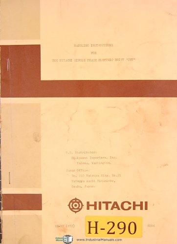 Hitachi JET, Single Phase Electic Hoist, Connection Diagram and Instructions Manual (Single Hoist Phase)