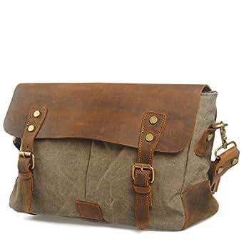 Mens Bag Vintage Canvas Briefcase Crossbody Day Bag for School and Work Men's Messenger Shoulder Bag High capacity (Color : ArmyGreen)