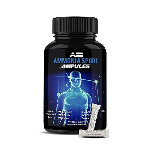 AmmoniaSport Athletic Smelling Salts - Ampules (25) Ammonia Inhalant - Smelling Salt - Increase Strength Naturally Fainting Alert First Aid - Focus Supplement - Wake Up Supplement - Pre Workout Energy