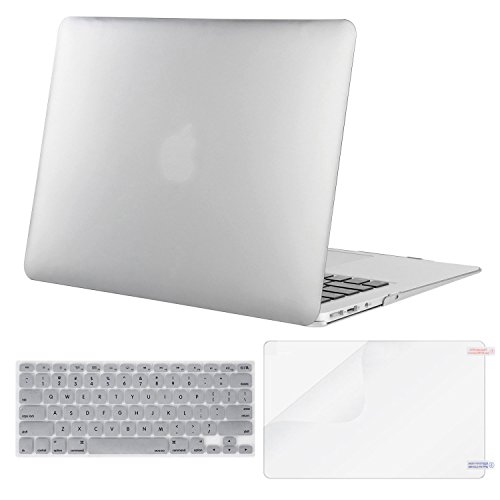MOSISO Plastic Hard Case & Keyboard Cover & Screen Protector Only Compatible MacBook Air 13 Inch (Models: A1369 & A1466, Older Version Release 2010-2017), Silver