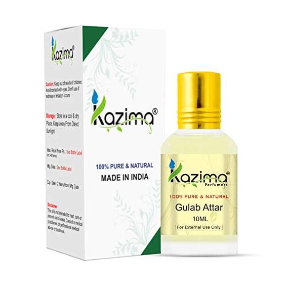 KAZIMA Gulab Attar Perfume For Unisex - Pure Natural Undiluted (Non-Alcoholic) (10ml)