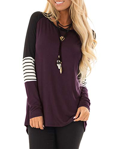 83fbc39b3c9f2 BMJL Women's Casual Round Neck Basic Elbow Striped Patchwork Tunic Pullover  Top T Shirt with Contrast Color