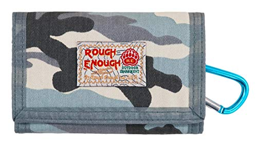 - Rough Enough Military Camo Canvas Wallet Trifold Small Portable Wallet Coin Pocket Purse Slim Credit Card Holder Cash Bag Organizer with Zipper for Boys Sport School Outdoor Travel Party