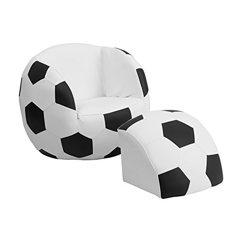 Offex OF-HR-1-GG Kids Soccer Chair and Footstool by Offex