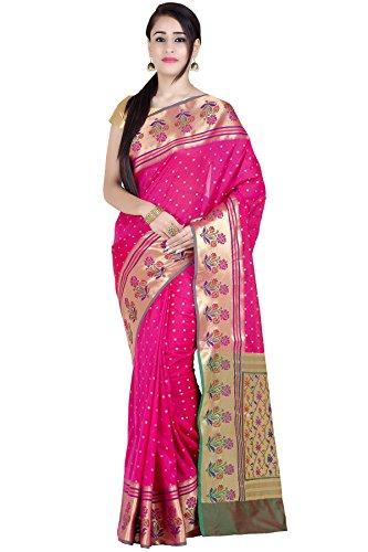 Chandrakala Women's Pink Kataan Silk Blend Banarasi Saree(1285PIN)