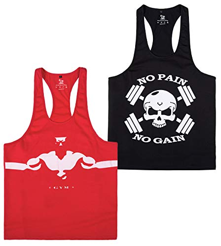 YSENTO Mens Cotton Stringer Tank Tops Racerback Sleeveless t Shirts Bodybuilding Powerlifting 2 Pack Red Black XXL Black 20 Skulls T-shirt