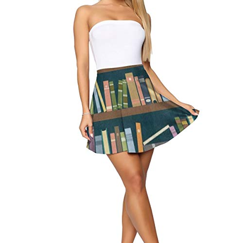 Women's Stretchy Flared Casual Mini Skater Skirt Bookshelf in The Library Bookworm (Bookshelf Curvy)