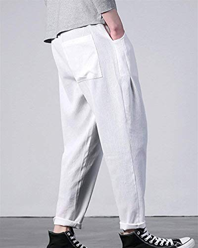 Casual Fashion Harem Wide Linen Mens Stretch Lightweight Bloomers Trousers White Pants Boy Clásico Laisla pqw5Ux85
