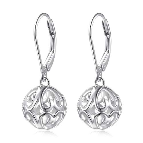S925 Sterling Silver Heart Round Ball Dangle Drop Leverback Cage Filigree Earrings for Women Little Girl Mother Sister Wife ()