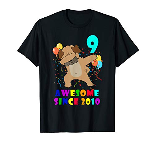 Born In 2010 9th Birthday Shirt Kids Dabbing Pug Dog -
