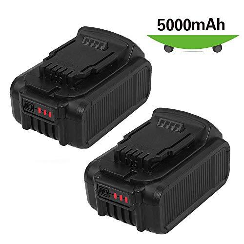 2 Packs 20V 5.0Ah Replacement for Dewalt 20 Volt Battery Max XR Lithium DCB205 DCB206 DCB207 DCB204 DCB203 DCB201 DCB200 DCB180 Cordless Power Tools